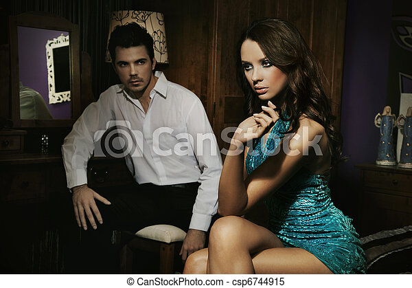 Young beauty talking with her handsome boyfriend - csp6744915