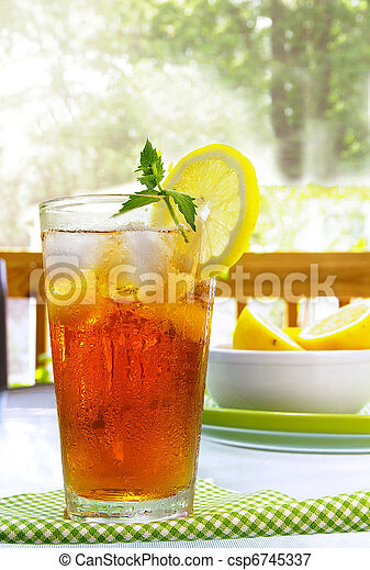 tall glass of cold iced tea with lemon and mint - csp6745337