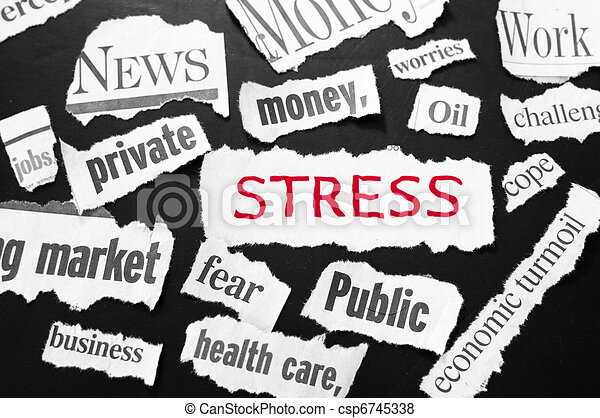 newspaper headlines showing bad news, stress in red - csp6745338