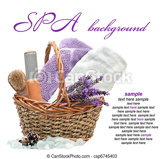 spa background with lavender  on a white background - csp6745403