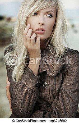 Portrait od amazing blonde girl  - csp6745692