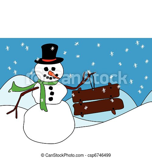 Snowman with wood sign or placard - csp6746499
