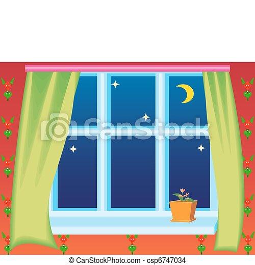 Vetor vista janela noturna c u estoque de for Fenster 800x800