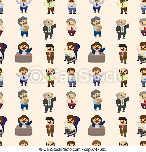 cartoon boss and Manager seamless pattern - csp6747605