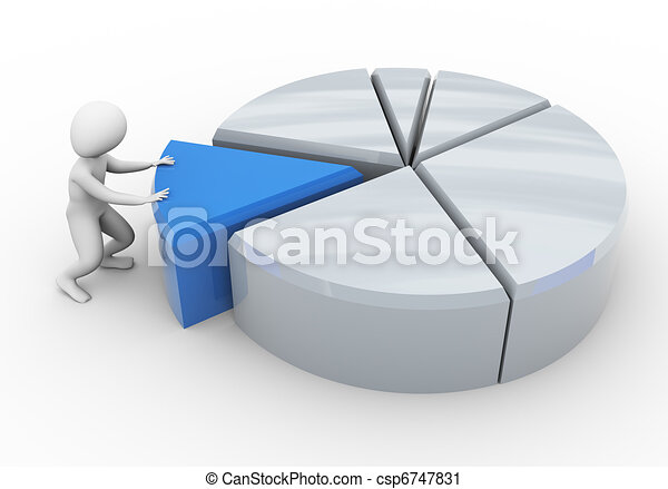 3d man and pie chart - csp6747831