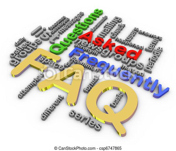 3d faq wordcloud - csp6747865
