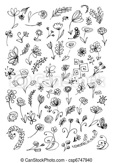 Sketch of floral elements for your design - csp6747940