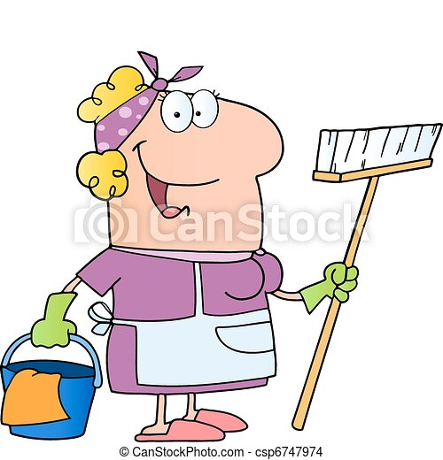 Cleaning Lady Cartoon Character - csp6747974