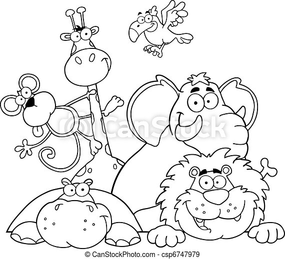 Outlined Animals Illustration - csp6747979