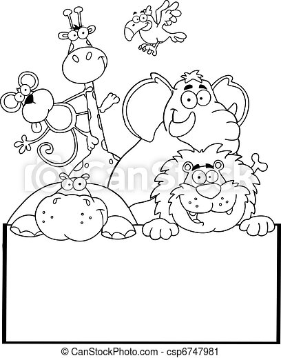 Outlined Jungle Animals  - csp6747981