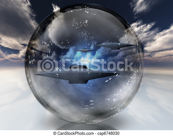 UFOs in clear sphere - csp6748030
