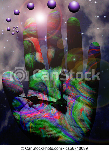 Surreal Hand with Clock Hands - csp6748039