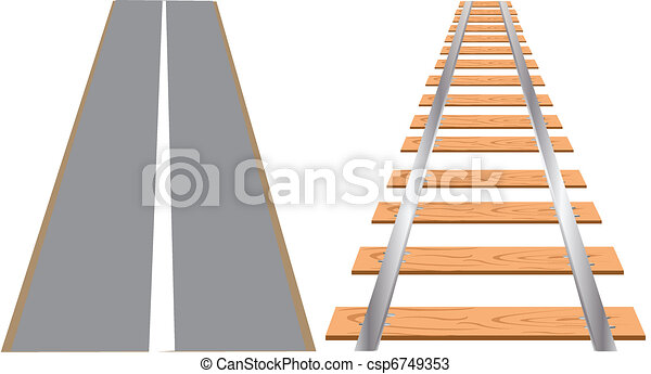 Railway and road for cars - csp6749353