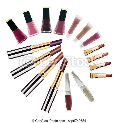 Set of lipsticks and nail polishes - csp6749654
