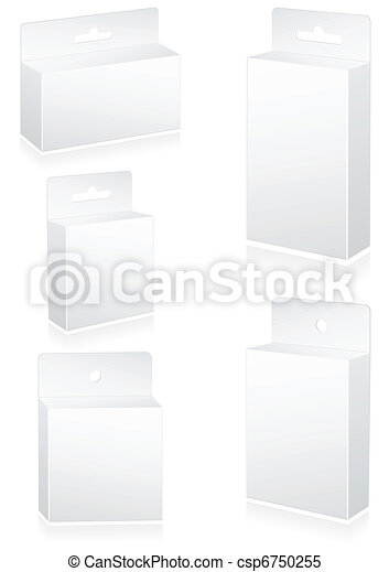 Blank retail boxes with hang slot. - csp6750255