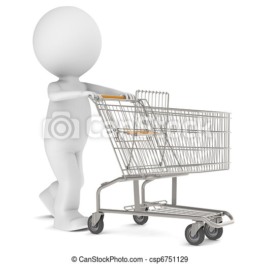 3d human character with an empty Shopping Trolley - csp6751129
