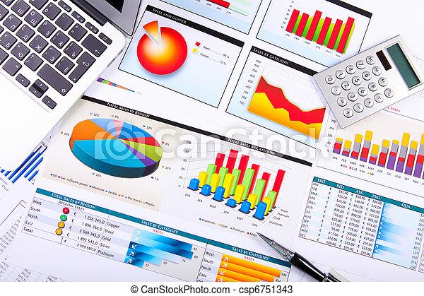 tabelle, tavola., grafici, affari - csp6751343