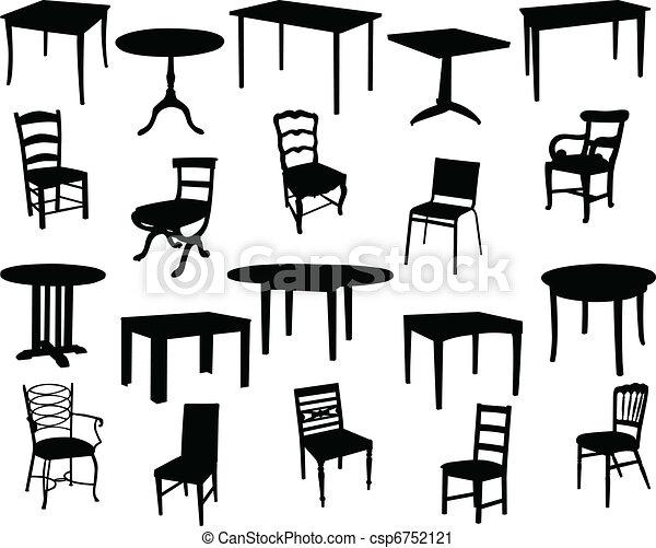 Stühle clipart  Vektor Clipart von stühle, tische - Tables, und, stühle, sammlung ...