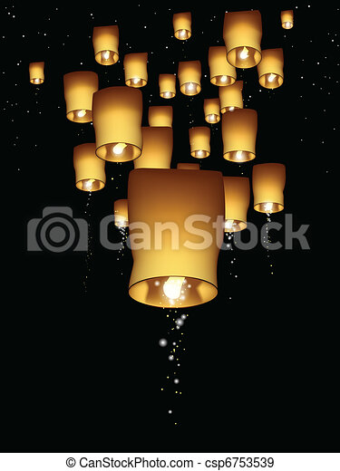 Vertical sky lantern illustration - csp6753539