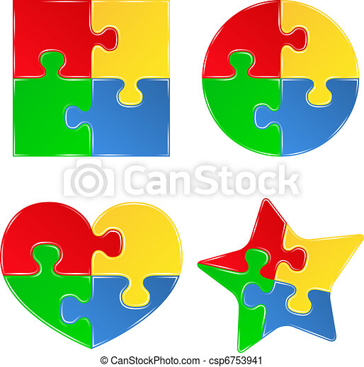 Vector shapes of jigsaw puzzle pieces - csp6753941