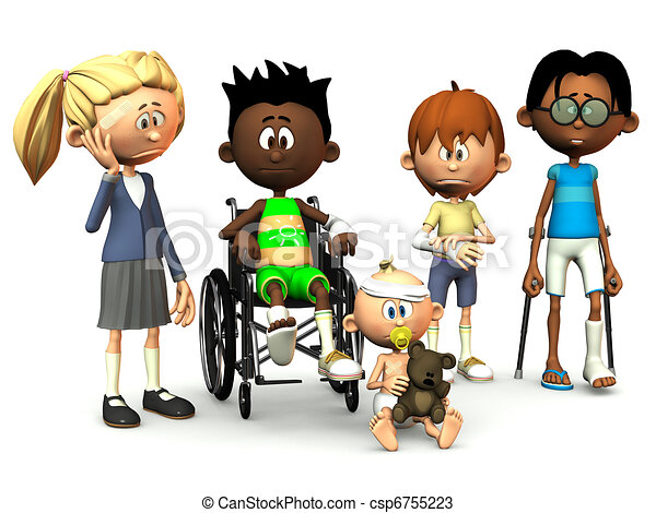 Five injured cartoon kids. - csp6755223