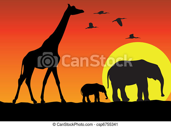 giraffe and elephants in africa - csp6755341