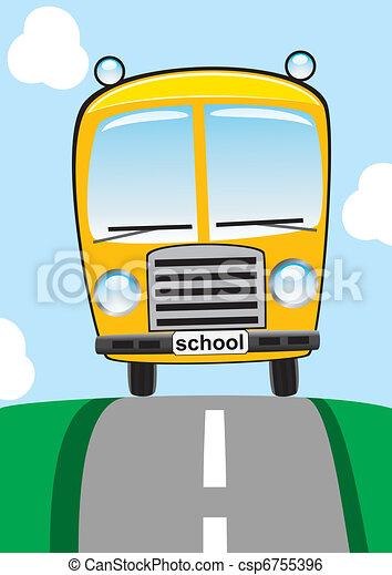 school bus on the road - csp6755396