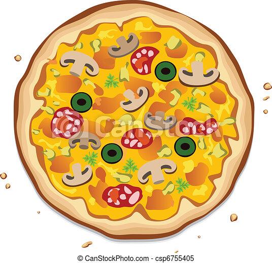vecteur clipart de italien pizza vecteur italien pizza sur blanc fond csp6755405. Black Bedroom Furniture Sets. Home Design Ideas