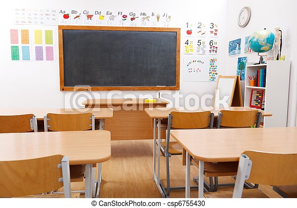 Empty class room of elementary school - csp6755430
