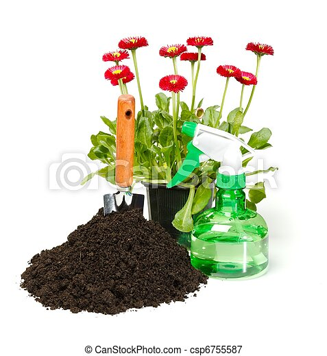 Flower planting tools and dirt - csp6755587
