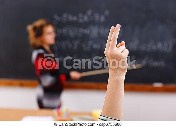 Raised arm in math class - csp6755608