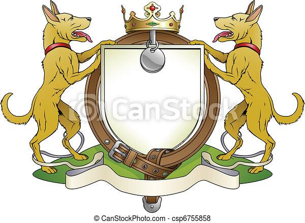 Dog pets heraldic shield coat of arms - csp6755858