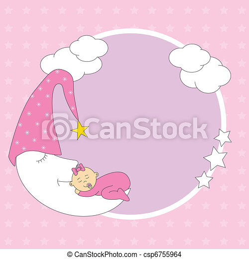baby girl sleeping on the moon - csp6755964