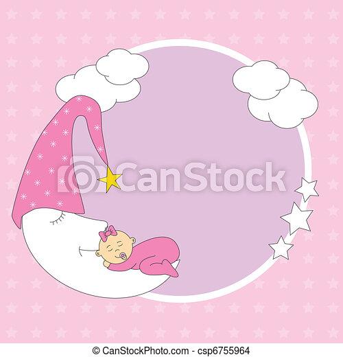 baby girl sleeping on the moon - csp6755964