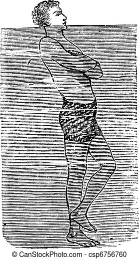 Balancing on One Foot in Water, vintage engraved illustration - csp6756760