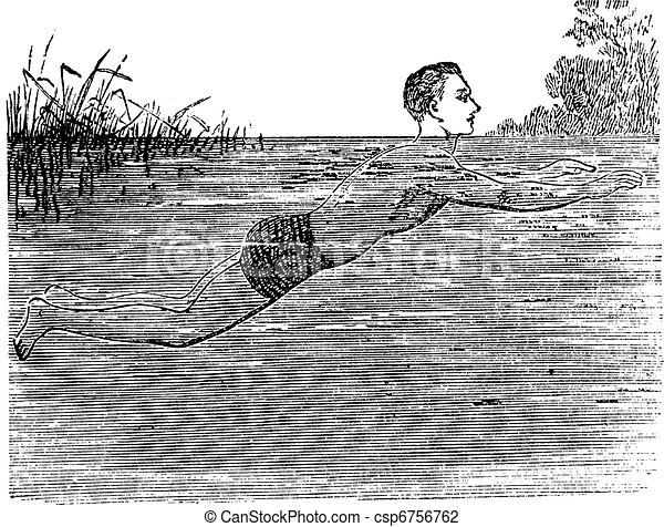 Breaststroke, Fifth Position, vintage engraved illustration - csp6756762