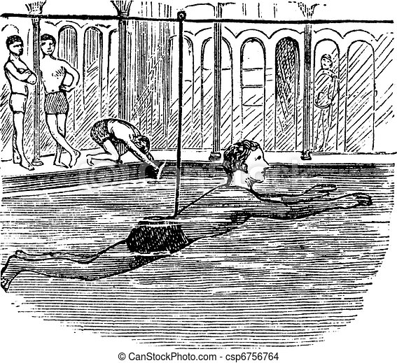 Learning to Swim with the Aid of a Rope, vintage engraved illustration - csp6756764