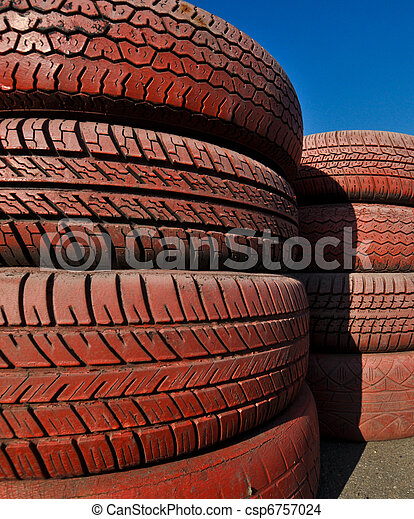 close up of racetrack fence of  red old tires - csp6757024