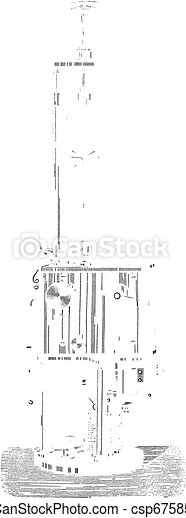 Foucault & Dubosc Electromagnetic Regulator, vintage engraved illustration - csp6758547