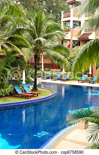 photo natation piscine luxe h tel phuket tha lande image images photo libre de droits. Black Bedroom Furniture Sets. Home Design Ideas