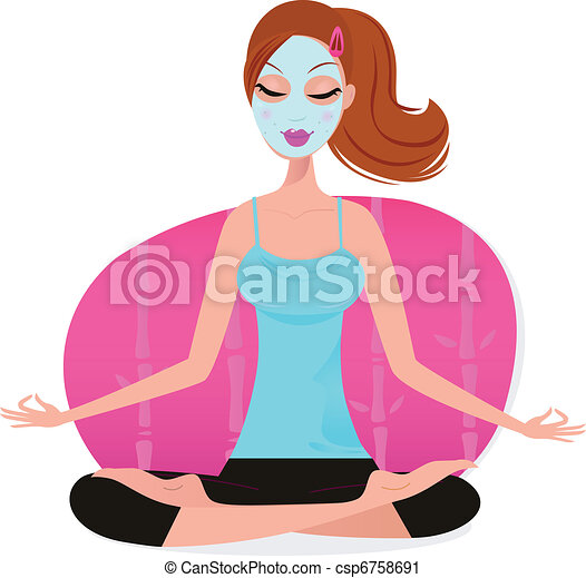 Cute young Woman with Facial mask doing yoga pose - pink   - csp6758691