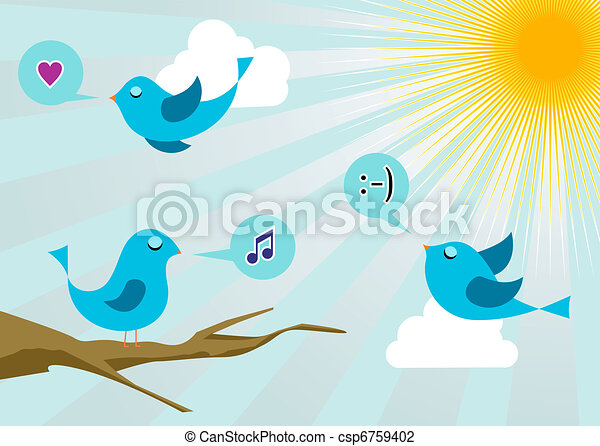 Twitter birds at social media sunrise - csp6759402
