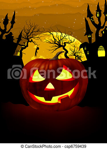 Pumpkin Halloween Card with hanged man. EPS 8 - csp6759439
