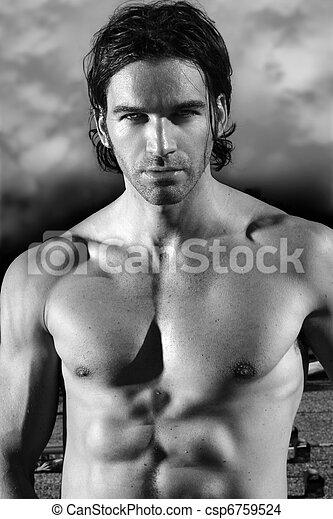 Beautiful shirtless muscular male model - csp6759524