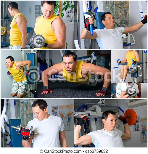 Man training in fitness center - csp6759632