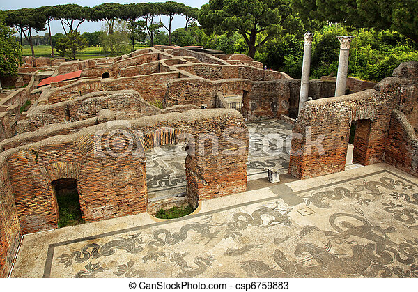 Ancient Roman Baths of Neptune Mosaic Floors Ostia Antica Ruins Rome Italy