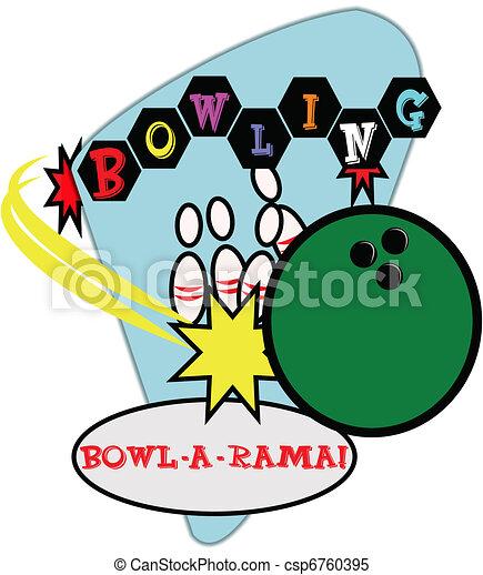 retro bowling illustration  - csp6760395