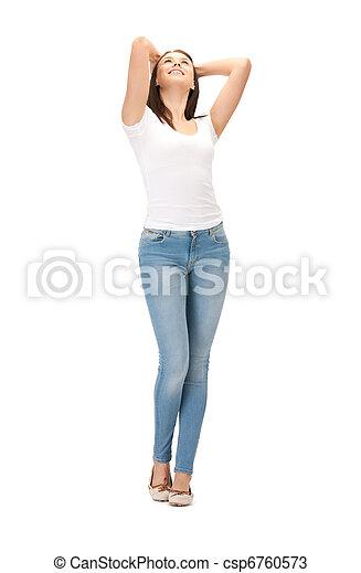 happy and carefree teenage girl - csp6760573