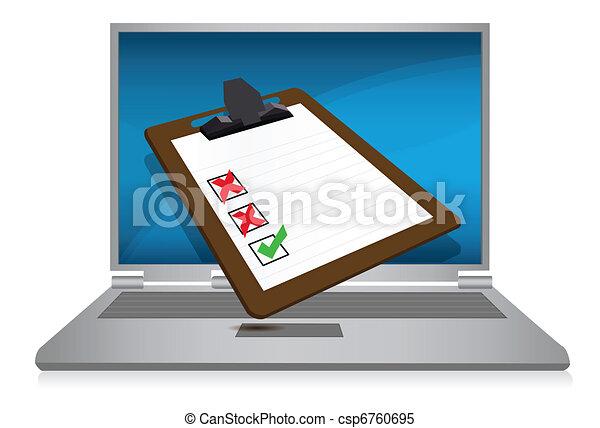 laptop display with a survey - csp6760695