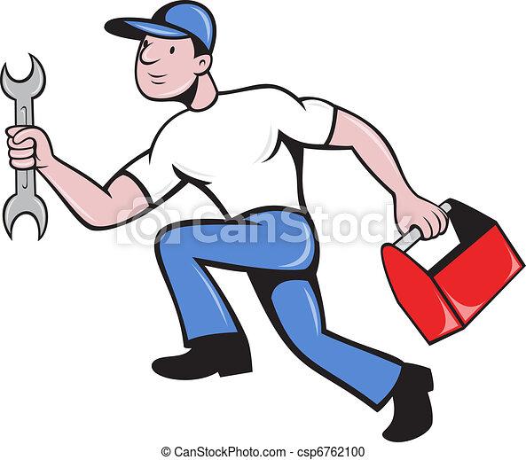 mechanic repairman with spanner running - csp6762100